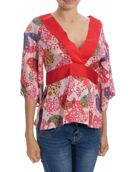 Дамска блуза с къс ръкав Pedro del Hierro